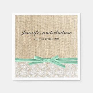 Mariage rustique de ruban de menthe de dentelle de serviettes en papier