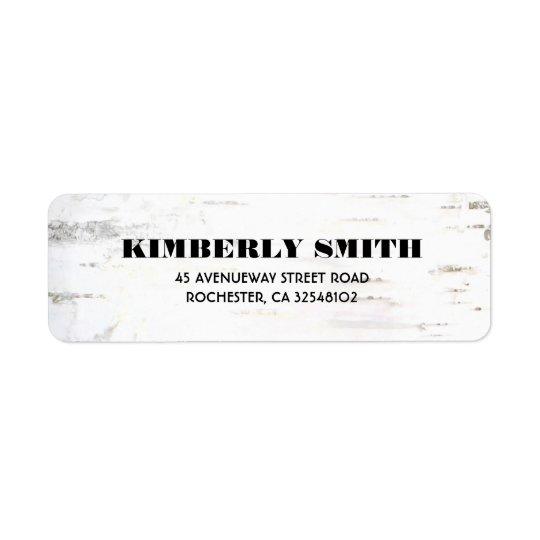 Mariage rustique de texture d'écorce de bouleau étiquette d'adresse retour