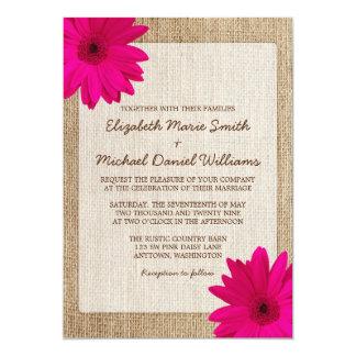 Mariage rustique de toile de jute de marguerite carton d'invitation  12,7 cm x 17,78 cm