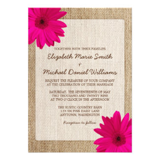 Mariage rustique de toile de jute de marguerite ro invitation personnalisable