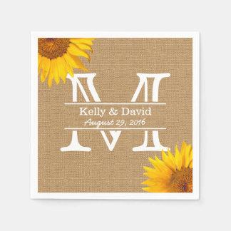 Mariage rustique de toile de jute de monogramme de serviettes en papier