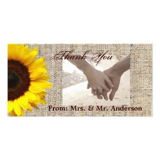 Mariage rustique de tournesol de toile de jute de carte avec photo