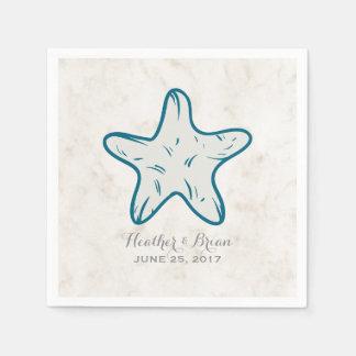 Mariage rustique d'étoiles de mer de bleu royal serviette jetable