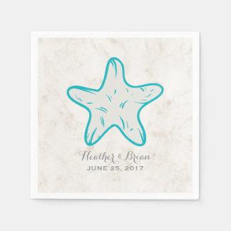 Mariage rustique d'étoiles de mer de turquoise serviettes jetables