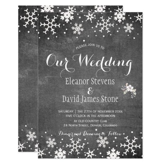 Mariage rustique d'hiver de tableau de flocons de carton d'invitation  12,7 cm x 17,78 cm