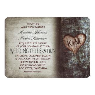 Mariage rustique et vintage de coeur découpé par carton d'invitation  12,7 cm x 17,78 cm