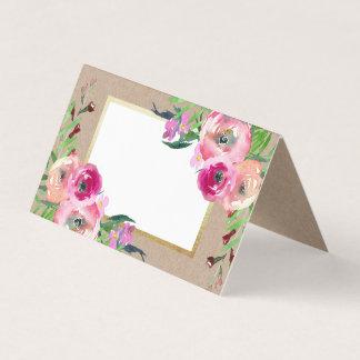 Mariage rustique floral romantique de papier carte