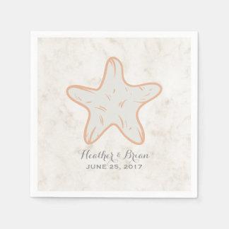 Mariage rustique orange d'étoiles de mer serviette jetable
