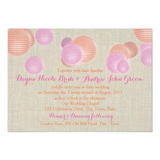 Mariage rustique rose de corail de lampions carton d'invitation  12,7 cm x 17,78 cm