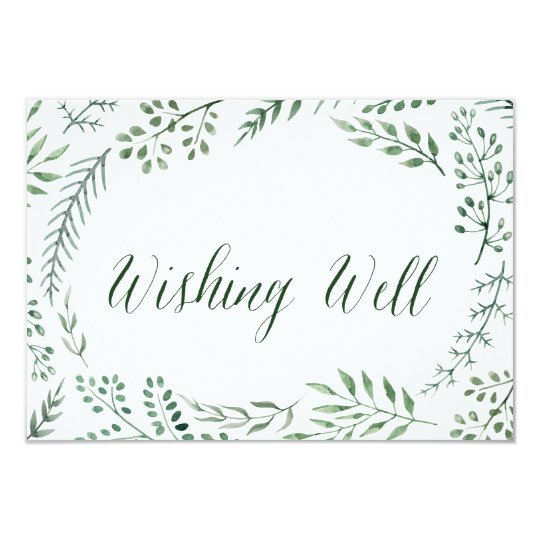 Mariage rustique vert de guirlande souhaitant bien carton d'invitation 8,89 cm x 12,70 cm