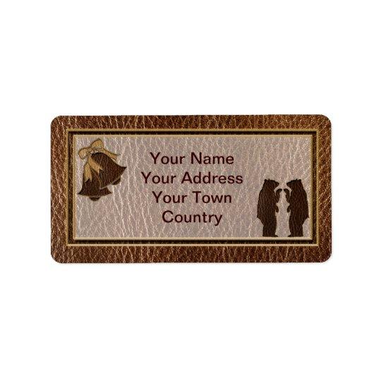 Mariage simili cuir étiquette d'adresse