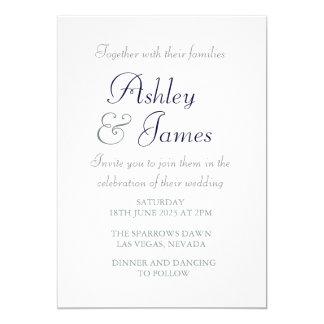 Mariage simple bleu blanc de manuscrit élégant carton d'invitation  12,7 cm x 17,78 cm