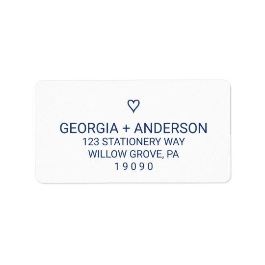 Mariage simple de coeur de bleu marine étiquette d'adresse