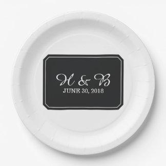 Mariage simplement élégant de noir assiettes en papier