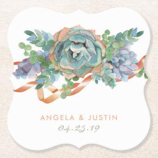 Mariage succulent de groupe d'aquarelle dessous-de-verre en papier