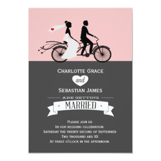 Mariage tandem mignon de jeunes mariés de vélo carton d'invitation  12,7 cm x 17,78 cm