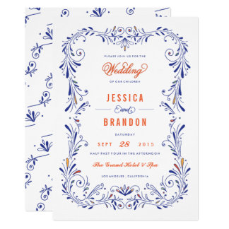 Mariage tiré par la main orange bleu de feuillage carton d'invitation  12,7 cm x 17,78 cm