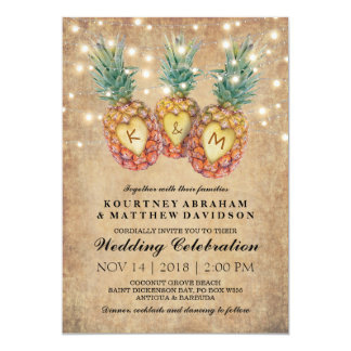 Mariage tropical d'ananas exotique carton d'invitation  12,7 cm x 17,78 cm