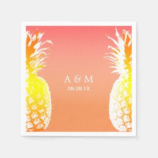 Mariage tropical d'ananas hawaïens serviette jetable