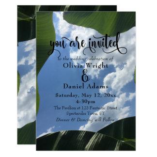 Mariage tropical de ciel encadré par feuille de carton d'invitation  12,7 cm x 17,78 cm