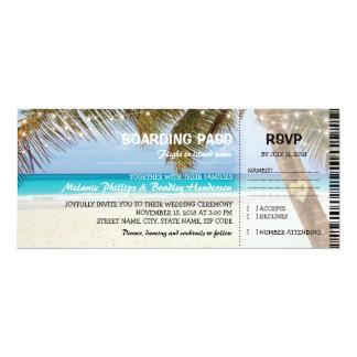 Mariage tropical de flamant de plage de carte