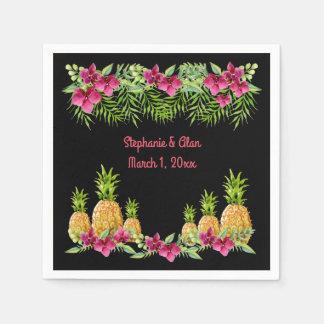 Mariage tropical de fougères d'orchidées d'ananas serviette jetable