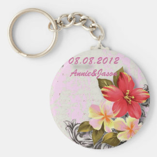 mariage tropical floral de ketmie vintage d'Hawaï Porte-clés