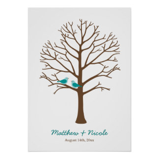 Mariage turquoise d'arbre d'empreinte digitale d'o posters