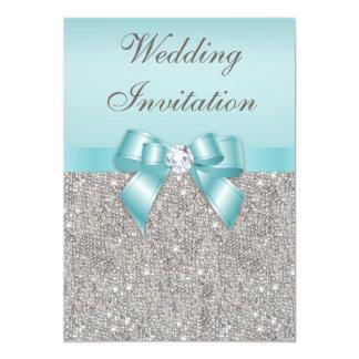 Mariage turquoise imprimé d'arc de diamants carton d'invitation  12,7 cm x 17,78 cm