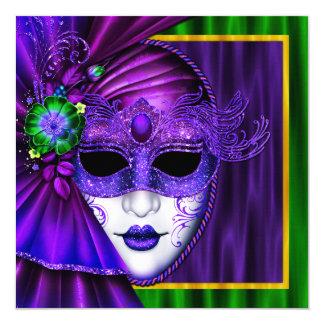 Mariage vénitien élégant de mardi gras de masque carton d'invitation  13,33 cm