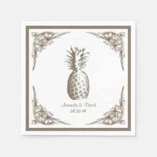 Mariage vintage d'ananas de frontière serviettes jetables