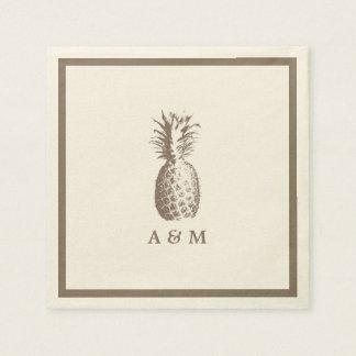 Mariage vintage d'ananas serviettes en papier