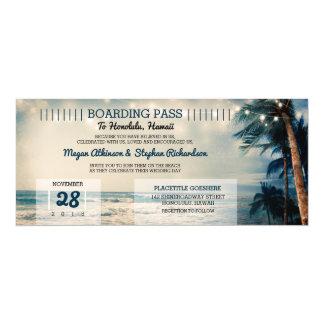 Mariage vintage de billet de carte d'embarquement carton d'invitation  10,16 cm x 23,49 cm