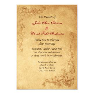 Mariage vintage de Brown de caramel Carton D'invitation 12,7 Cm X 17,78 Cm