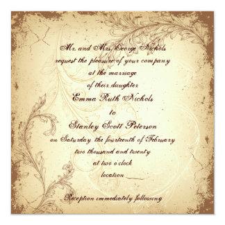 Mariage vintage de Brown et de feuille beige de Carton D'invitation 13,33 Cm