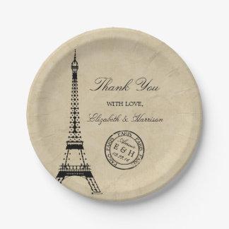 Mariage vintage de cachet de la poste de Paris de Assiettes En Papier