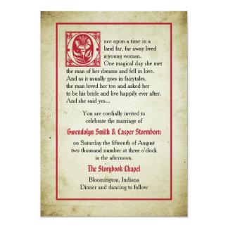Mariage vintage de conte de fées de la page   de carton d'invitation  12,7 cm x 17,78 cm