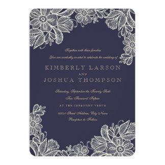 Mariage vintage de dentelle carton d'invitation  12,7 cm x 17,78 cm