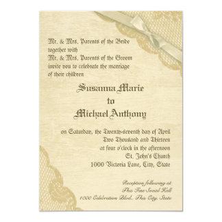 Mariage vintage de dentelle et d'arc carton d'invitation  12,7 cm x 17,78 cm