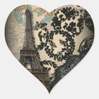 Mariage vintage de dentelle florale sophistiquée sticker cœur