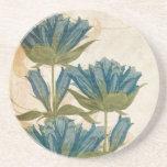 Mariage vintage de fleurs bleues dessous de verres