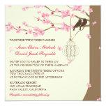 Mariage vintage de fleurs de cerisier de cage carton d'invitation  13,33 cm