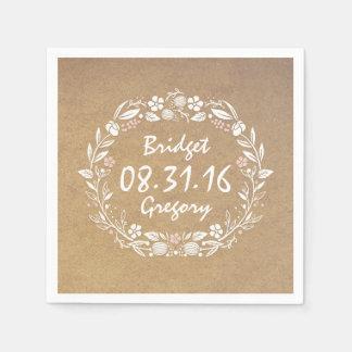 mariage vintage de guirlande florale de style de serviette en papier