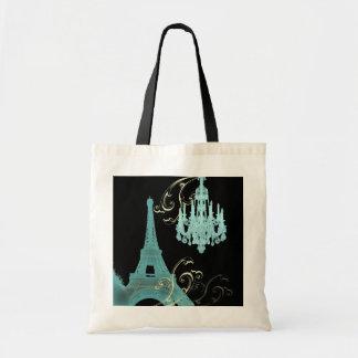 Mariage vintage de lustre de Tour Eiffel de Paris Tote Bag