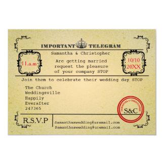 Mariage vintage de télégramme carton d'invitation  12,7 cm x 17,78 cm