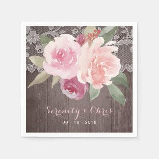 Mariage vintage floral de dentelle d'aquarelle serviette jetable