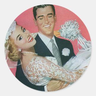 Mariage vintage jeune mariée de transport de mari adhésifs