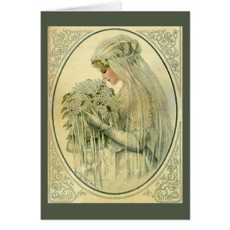 Mariage vintage, portrait nuptiale de jeune mariée cartes de vœux