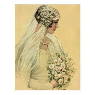 Mariage vintage, portrait nuptiale de jeune mariée carte postale
