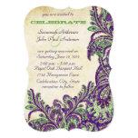 Mariage vintage pourpre et vert de Paisley de paon Carton D'invitation 12,7 Cm X 17,78 Cm